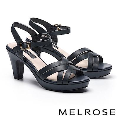 涼鞋 MELROSE 羅馬風格交叉造型牛皮美型高跟涼鞋-藍