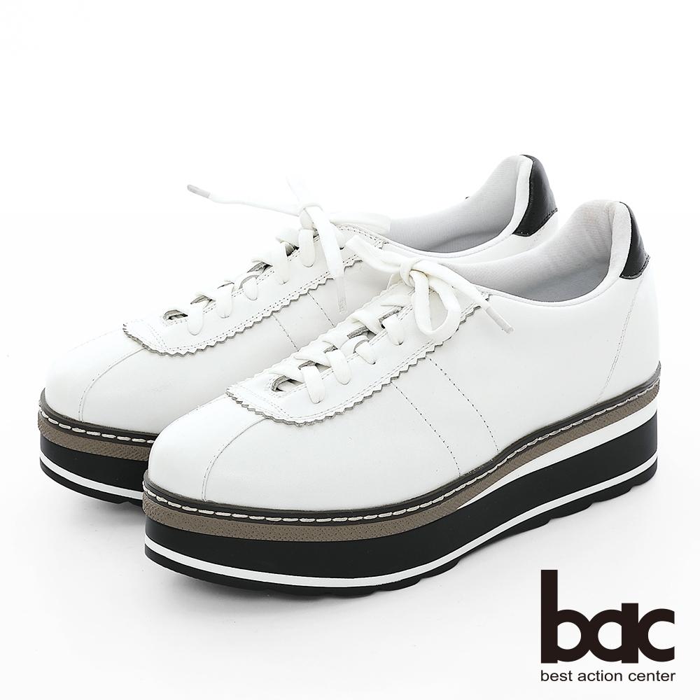 【bac】加州陽光-多層厚底台運動風綁帶休閒鞋-白
