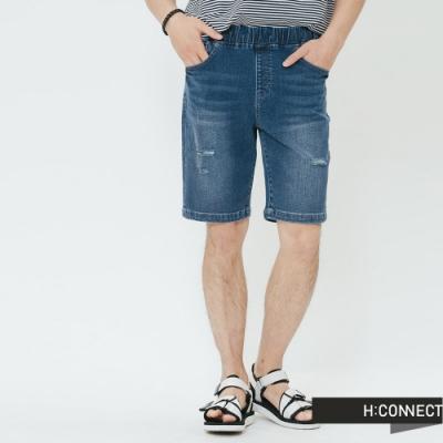 H:CONNECT 韓國品牌 男裝-鬆緊抽繩牛仔短褲-深藍