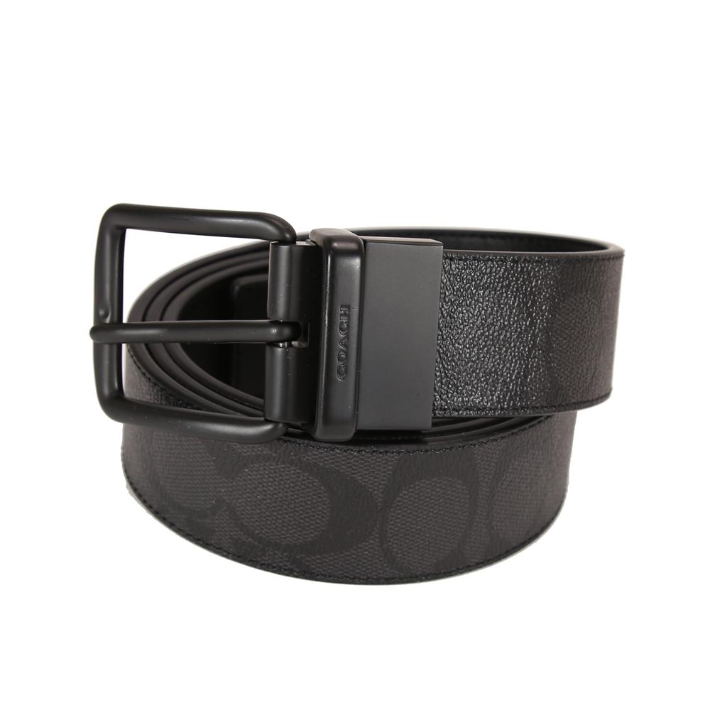 COACH PVC LOGO 細皮雙面使用旋轉針扣男用皮帶(灰黑/黑)