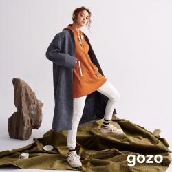 gozo 羅紋領質感混羊毛大衣(深藍)