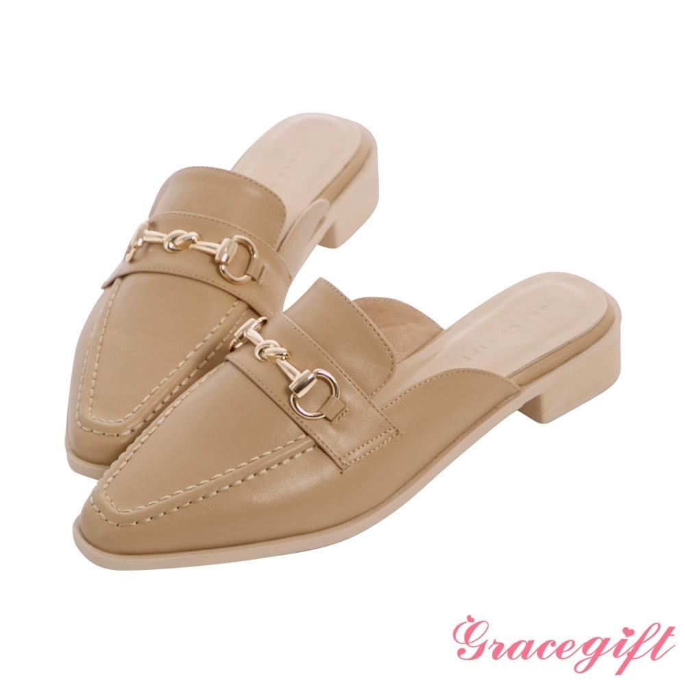 Grace gift-馬銜釦低跟穆勒鞋 杏