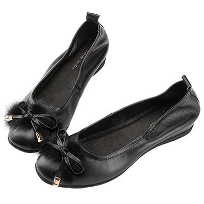 Robinlo 華麗低調蝴蝶結絨毛娃娃鞋 黑