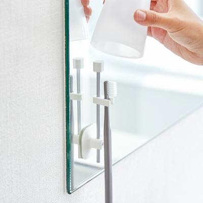 日本 YAMAZAKI- MIST吸盤式直立兩用牙刷架-附杯★日本百年品牌★衛浴收納/牙刷