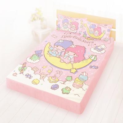 享夢城堡 雙人床包枕套5x6.2三件組-雙星仙子Little Twin Stars 月光童話-粉