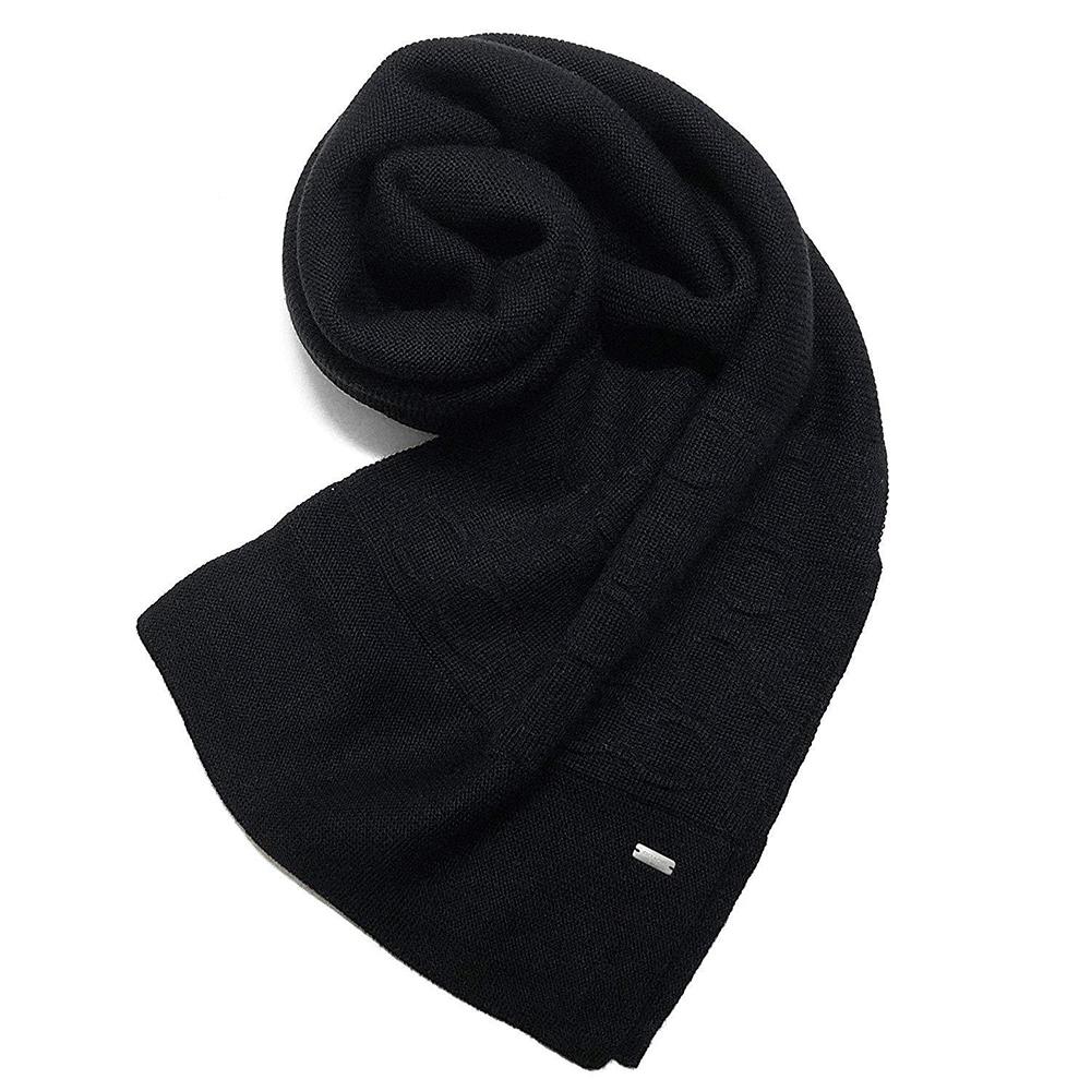 COACH 經典LOGO素面針織混羊毛圍巾 黑色