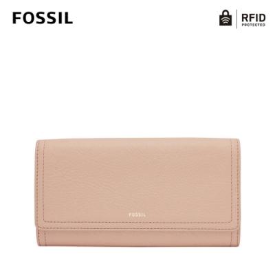 FOSSIL LOGAN 三折真皮拉鍊RFID防盜長夾-櫻花粉 SL7833656