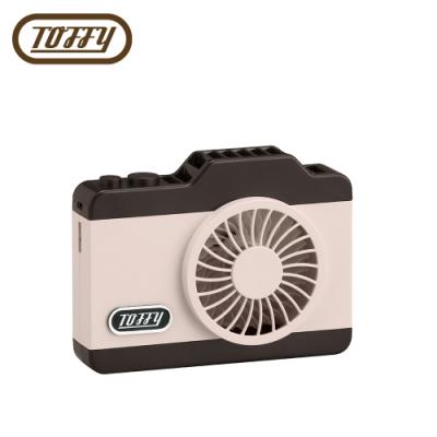 日本Toffy LED Camera Fan相機造型USB充電電風扇 蜜桃粉