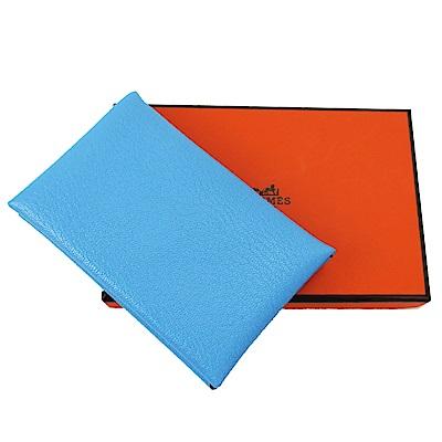 HERMES Calvi系列羊皮折疊暗釦名片/零錢包/信用卡夾(水藍)