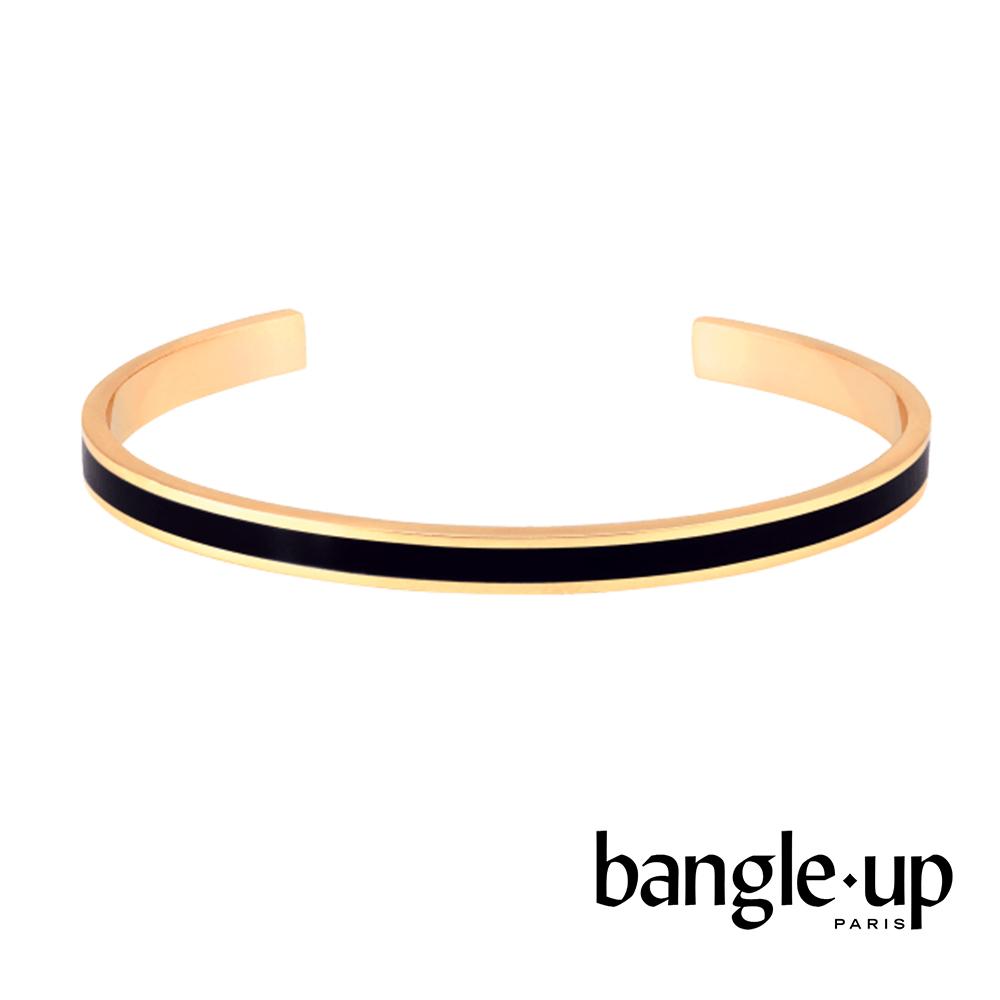 BANGLE UP 復古經典琺瑯鍍金開口手環 -黑
