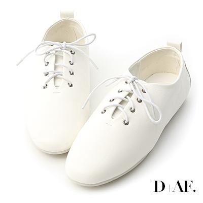 D+AF 俏皮女孩.簡單綁帶豆豆底小白鞋*白