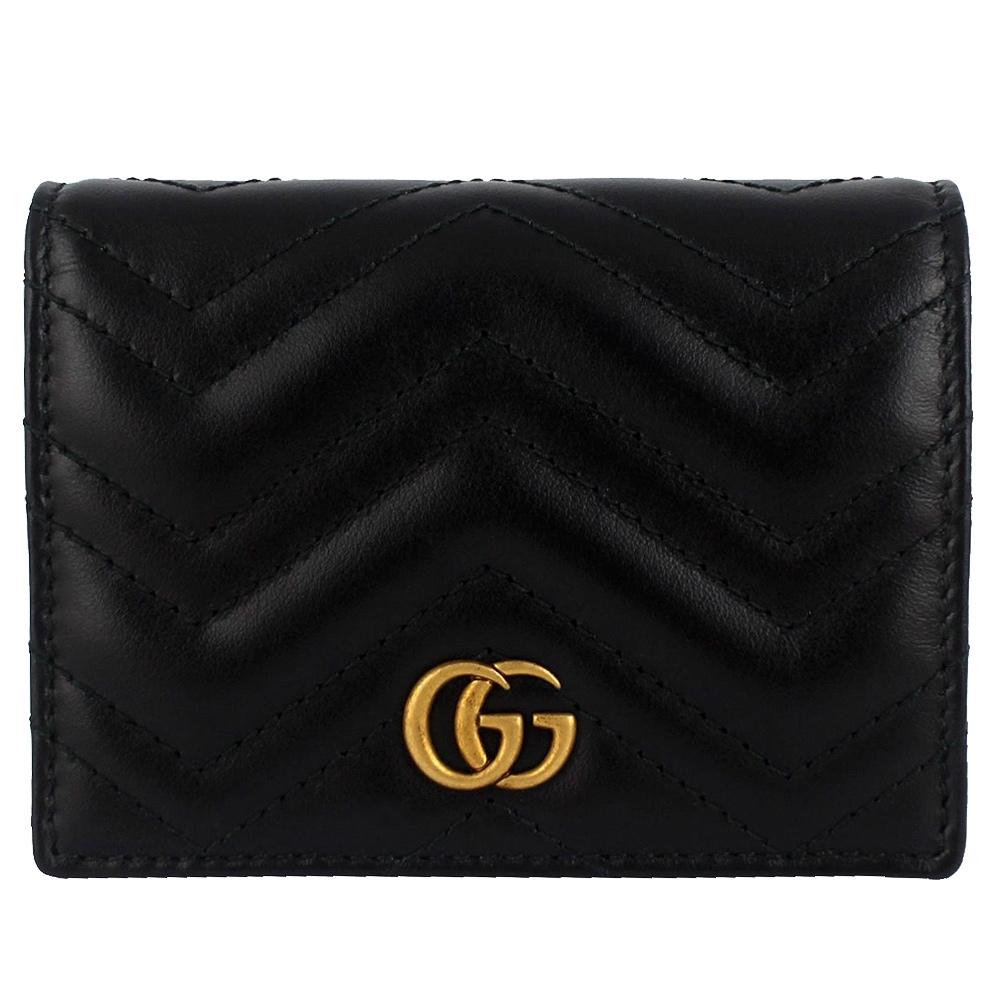 GUCCI Marmont 黑色車縫皮革雙G名片式短夾(拉鍊夾層)