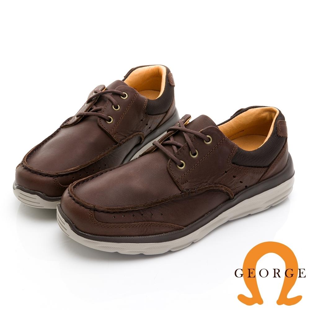 GEORGE喬治皮鞋 輕量系列 超輕反毛皮配色休閒鞋 -咖啡色
