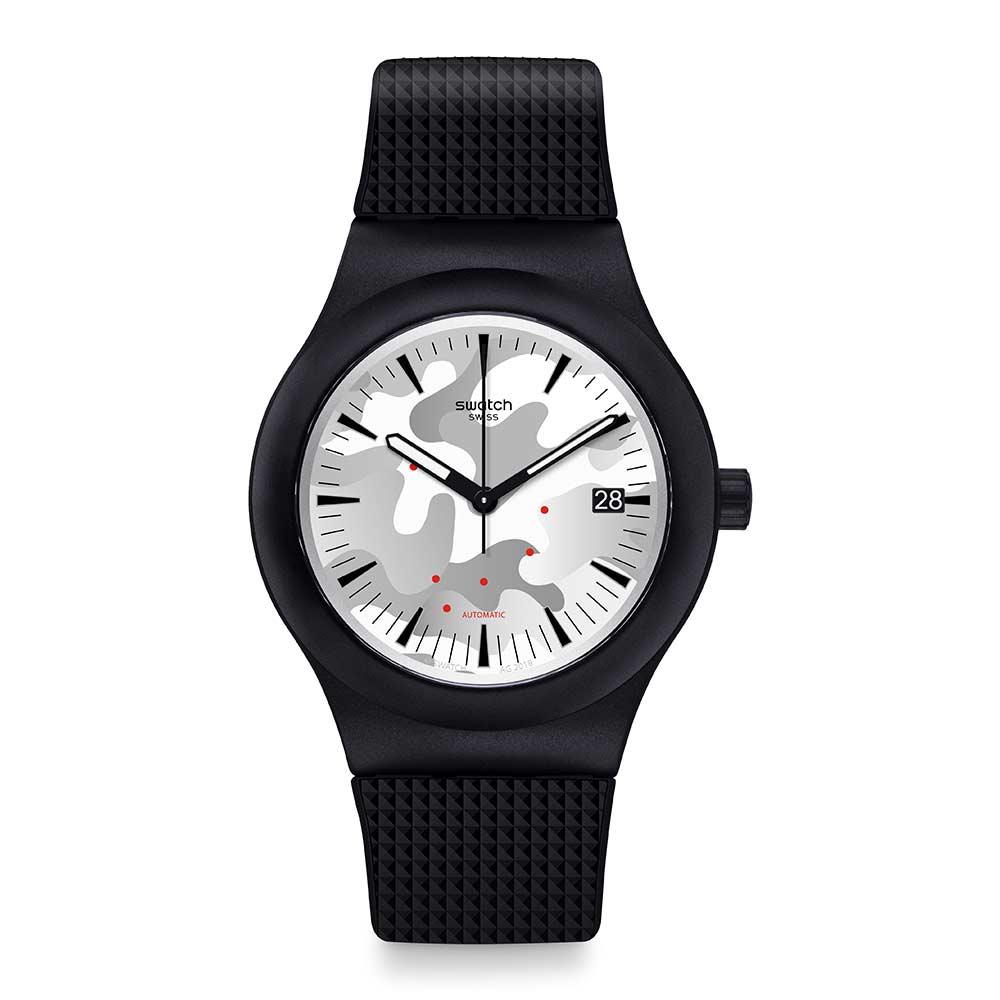 Swatch 51號星球機械錶SISTEM KAMU菱格湛黑