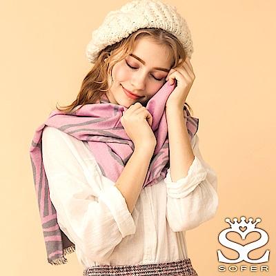 SOFER 凡爾賽玫瑰100%蠶絲圍巾 - 公主粉