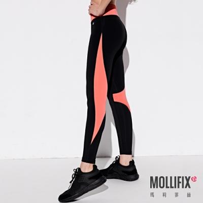 Mollifix 瑪莉菲絲 流動拼接動塑褲 (黑+橘粉)