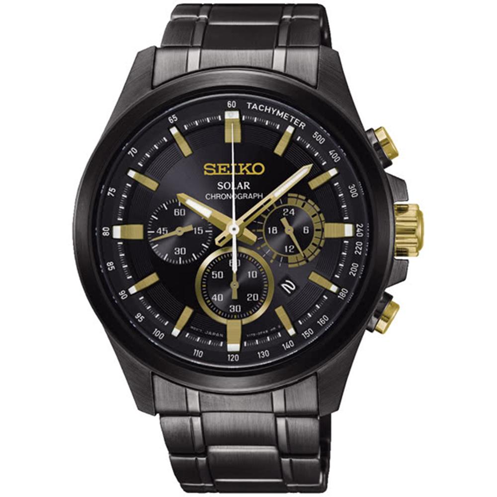 SEIKO精工Criteria太陽能計時腕錶-金礦V175-0ER0-G/SSC687P1
