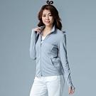 【LACHELN】女款COOLMAX小立領針織防曬外套-中灰色(L81W507)