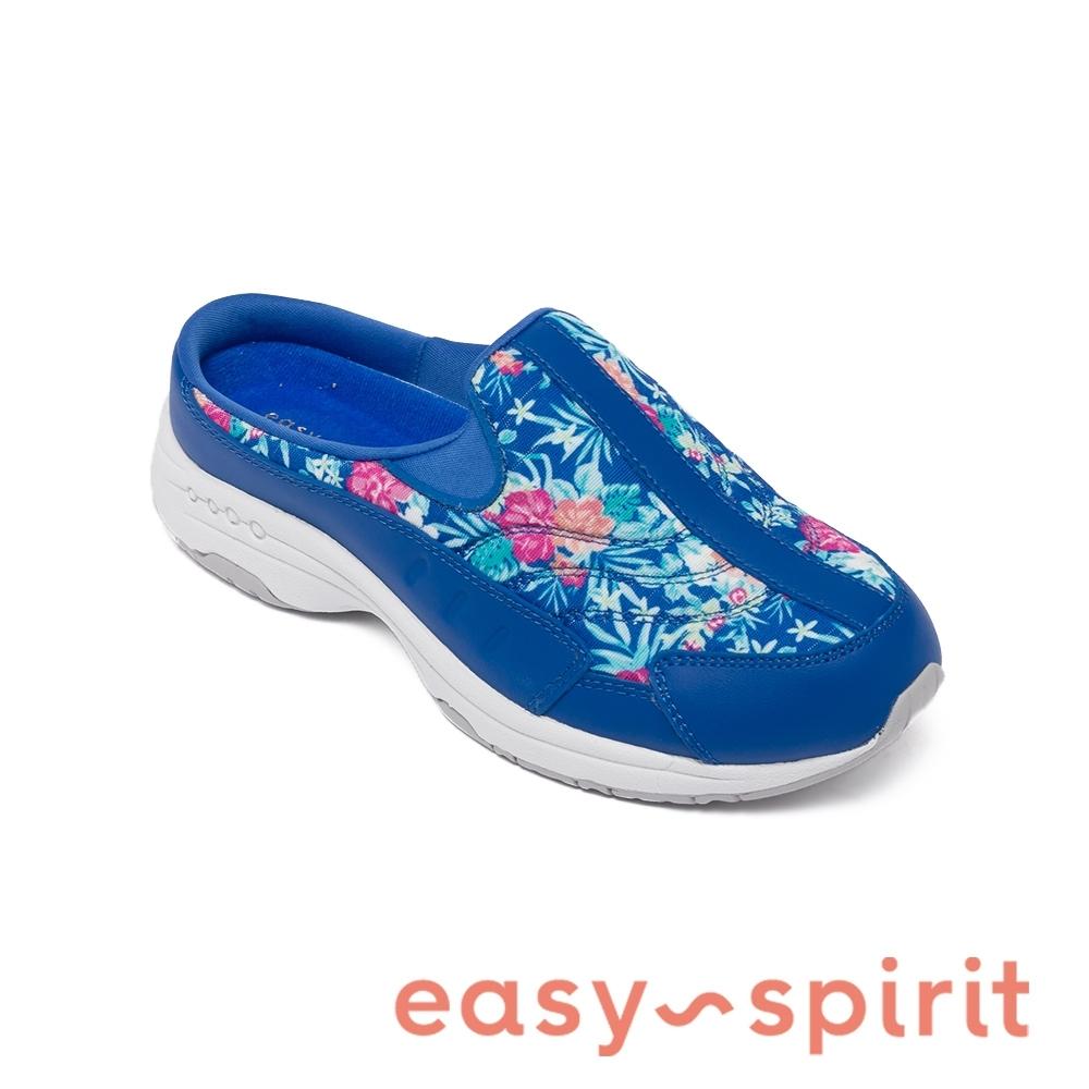 Easy Spirit-seTRAVELTIME500 真皮舒適花紋懶人休閒拖鞋-藍色