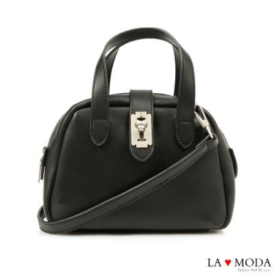 La Moda 小巧CUTIE創意釦飾多背法肩背手提波士頓包(黑)