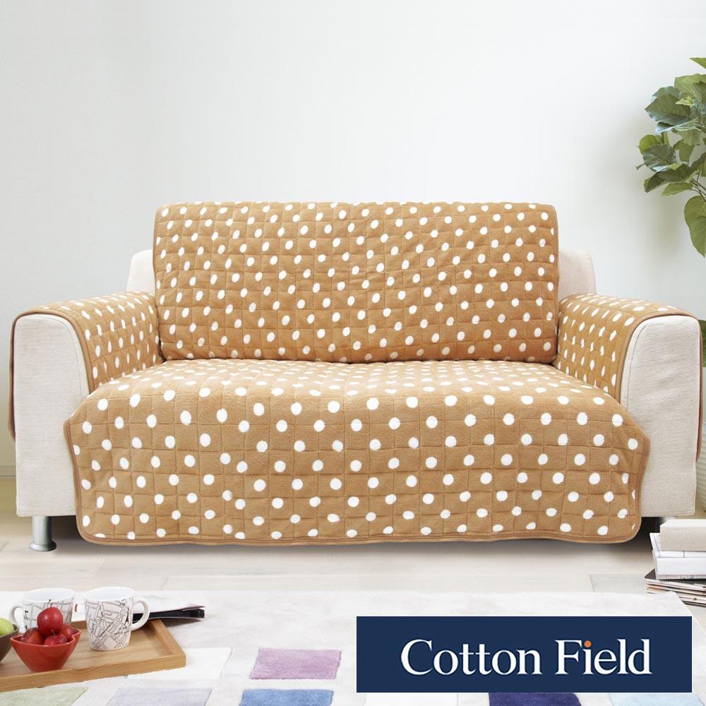 棉花田【暖點】雙人沙發防滑保暖保潔墊-淺褐色