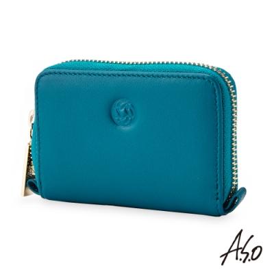 A.S.O機能休閒 法式休閒智慧隔層細紋零錢包-孔雀藍