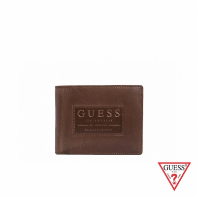 GUESS-男夾-極簡壓印皮革短夾-棕
