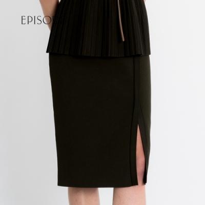 EPISODE - 優雅素色修身開叉針織裙