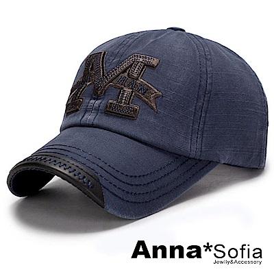 【滿額75折】AnnaSofia M字立體繡水洗 棉質防曬遮陽嘻哈棒球帽老帽(藍系)