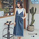 東京著衣 V領下擺抽鬚連身牛仔洋裝-S.M(共二色)