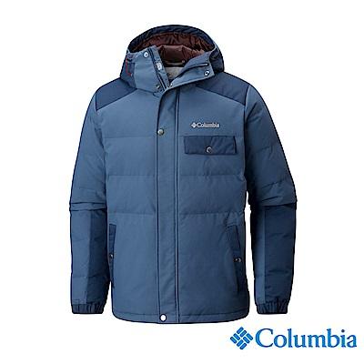 Columbia哥倫比亞 男款- 防潑連帽羽絨外套-墨藍 UWE12710IB