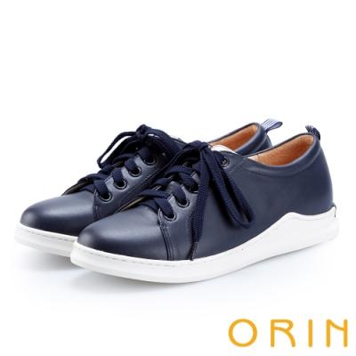 ORIN 休閒時尚風 素面真皮綁帶休閒平底鞋-藍色