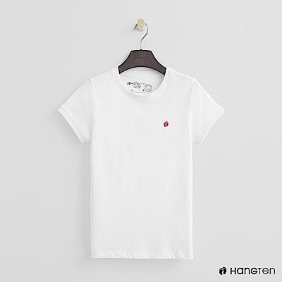 Hang Ten - 女裝 - 有機棉-logo圓領純色T恤 - 白