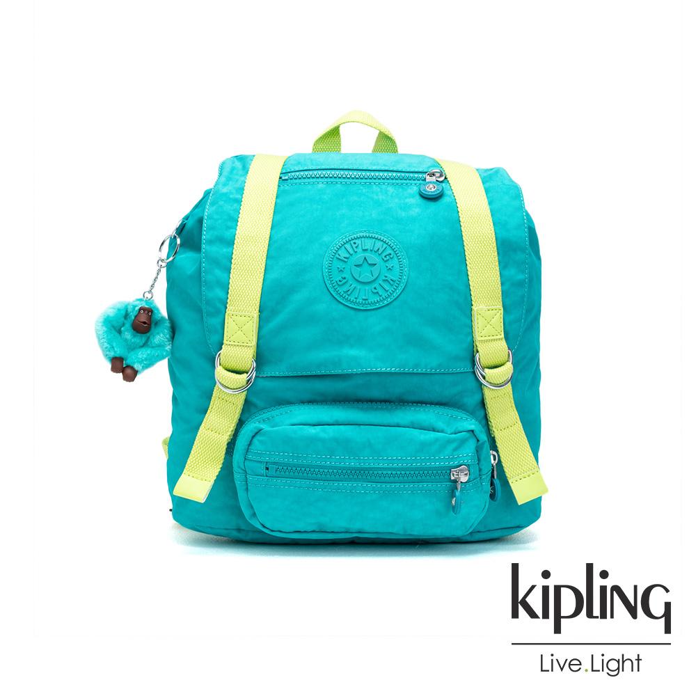 Kipling 糖果色調藍綠色雙扣翻蓋束口後背包-JOETSU S