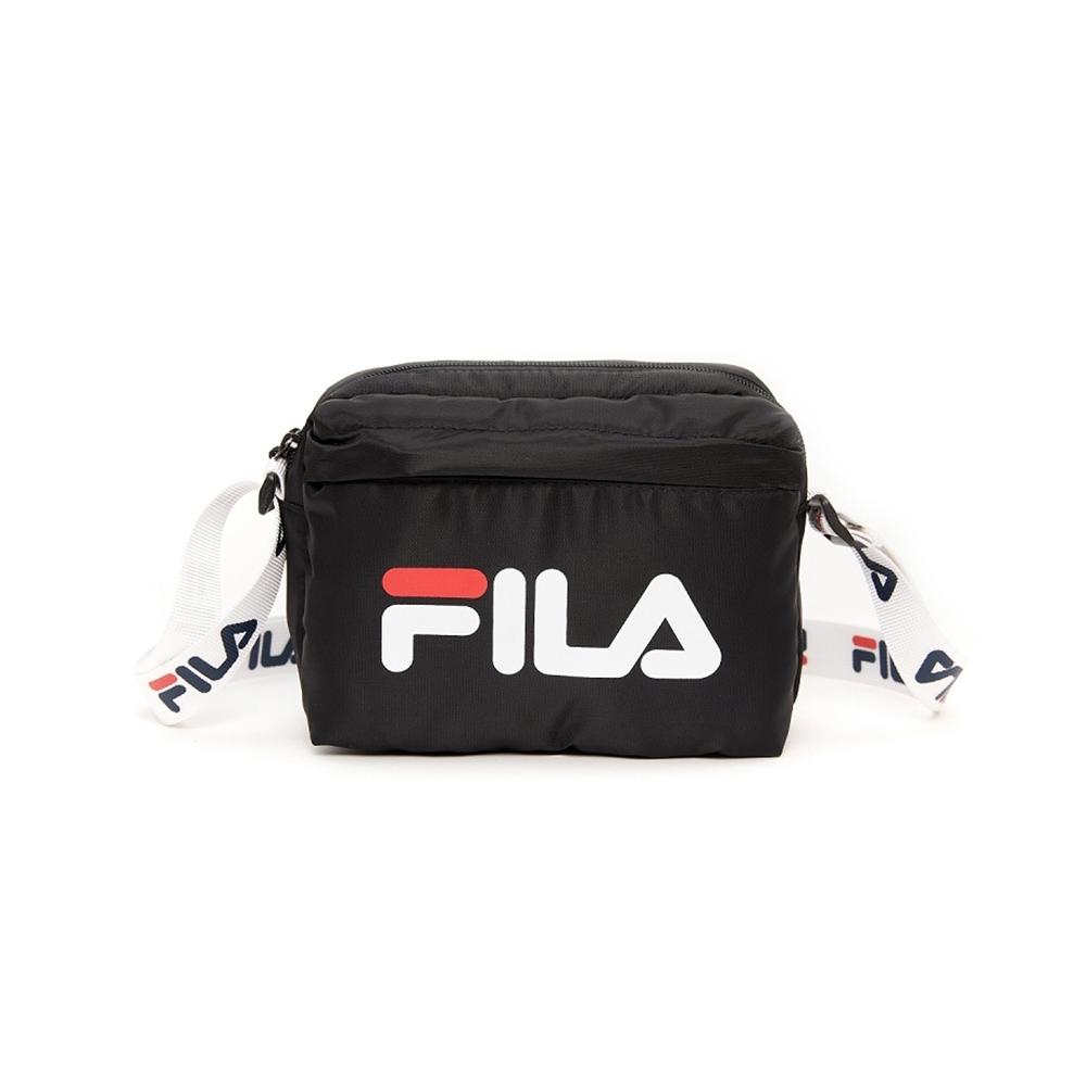 FILA 潮流織帶側背包-黑 BMV-1003-BK