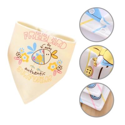 【6條入】純棉三角巾 雙層按扣口水巾卡通圍嘴嬰兒頭巾