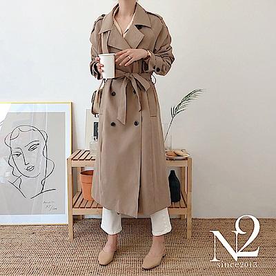 外套 正韓經典款雙排釦綁帶長版風衣外套 (卡其) N2