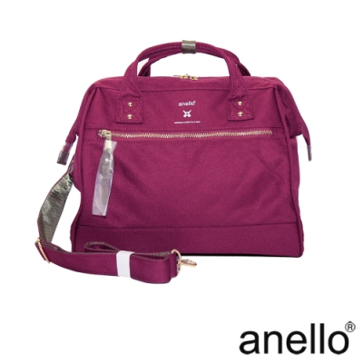 anello RE:MODEL 防潑水經典口金波士頓包 酒紅色  Regular