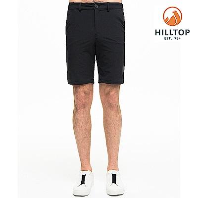 【hilltop山頂鳥】男款吸濕快乾抗菌彈性抗UV短褲S09M72無月黑