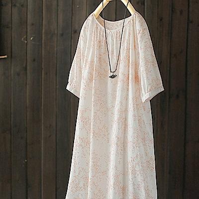 飛花裙寬鬆印花純棉洋裝-設計所在