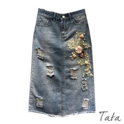 花朵釘珠刺繡牛仔裙 TATA