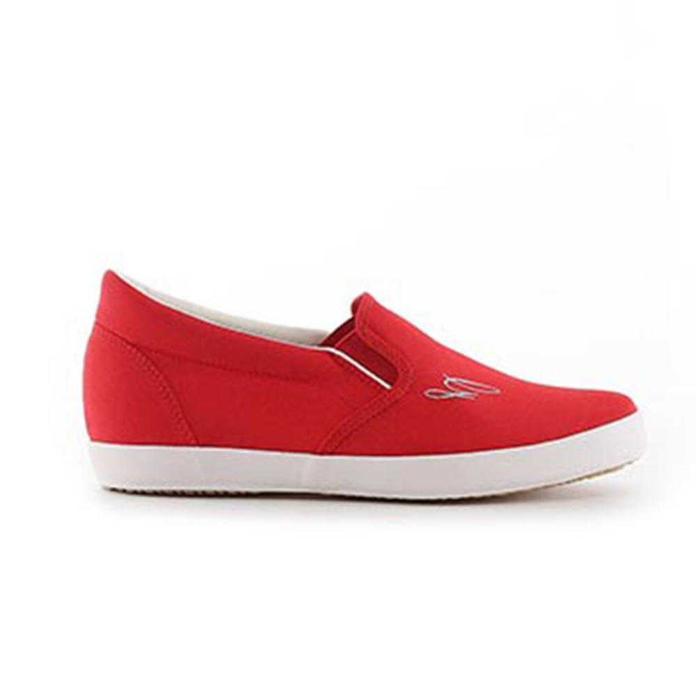 【TOP GIRL】素雅舒適棉質懶人休閒鞋-紅色