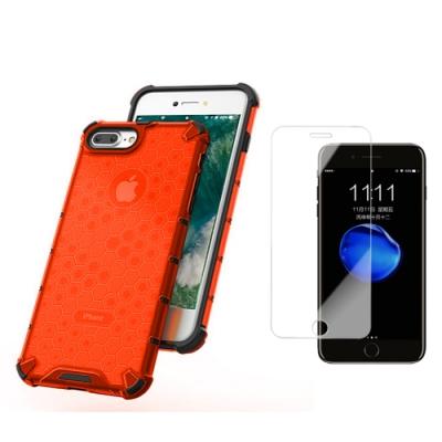 [買手機殼送保護貼] iPhone 7 8 Plus 赤焰橘 四角防摔 透光蜂巢手機殼 (iPhone7Plus手機殼 iPhone8Plus手機殼 )