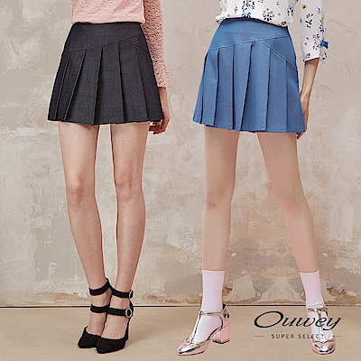OUWEY歐薇 時尚線條剪裁百搭壓摺褲裙(黑/藍)