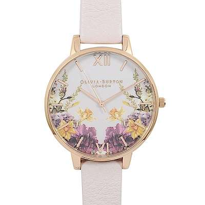 Olivia Burton 英倫復古手錶 魔幻花園玫瑰金框 淺粉色真皮錶帶38mm