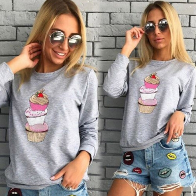 【KEITH-WILL】(現貨)歐美冰淇淋印花長袖衛衣-1色