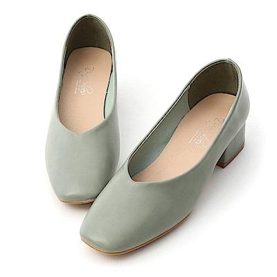 D+AF 優雅春氛.素面V口方頭低跟鞋*綠