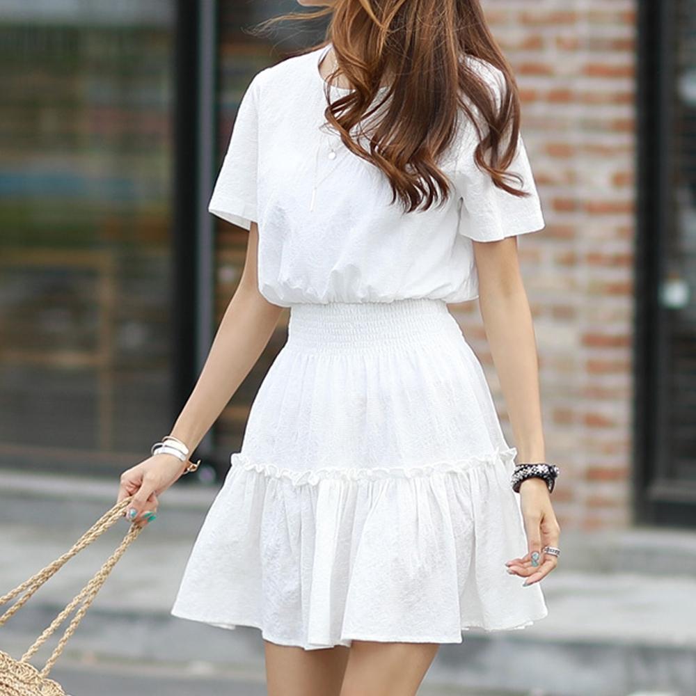 正韓 純色圓領壓花紋收腰短袖洋裝 (共二色)-N.C21
