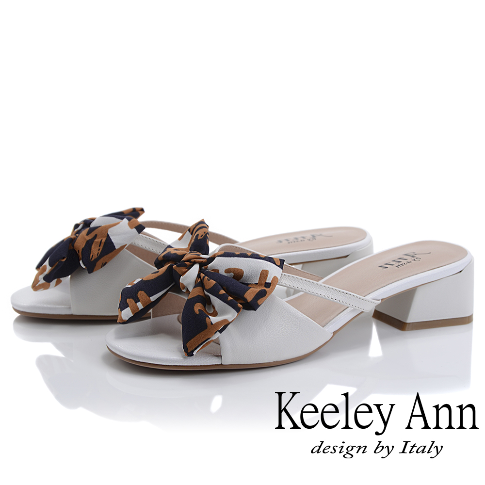 Keeley Ann細條帶 緞帶蝴蝶結低跟拖鞋(白色-Ann系列)