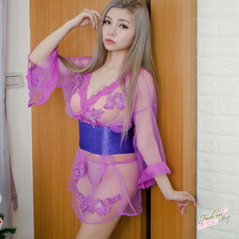 角色扮演透明和服 紫色透膚情趣內衣式cosplay服裝 流行E線